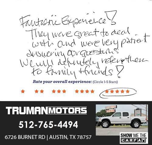 Truman Motors review by Stacey S. in Austin, TX on September 10, 2016