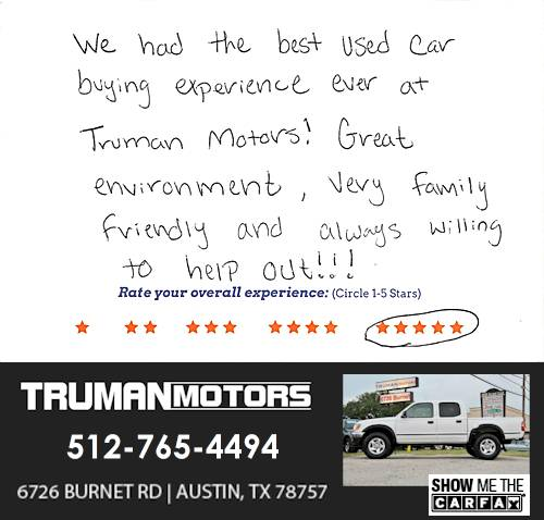 Truman Motors review by Jacob G. in Austin, TX on September 10, 2016