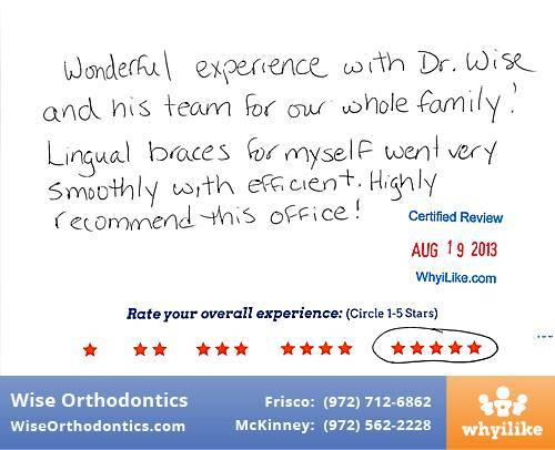 Wise Orthodontics Review by Elisa H. in Frisco, TX