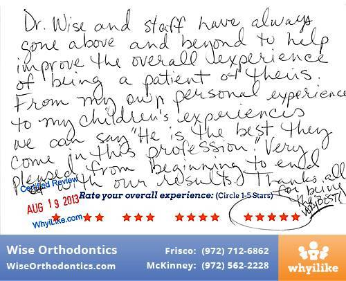 Wise Orthodontics Review by Darlene W. in Frisco, TX