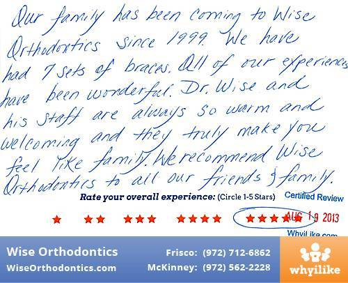 Wise Orthodontics Review by Shannon S. in Frisco, TX