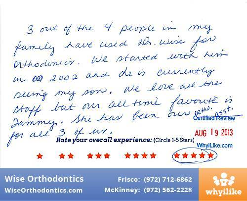 Wise Orthodontics Review by Shelly S. in Frisco, TX