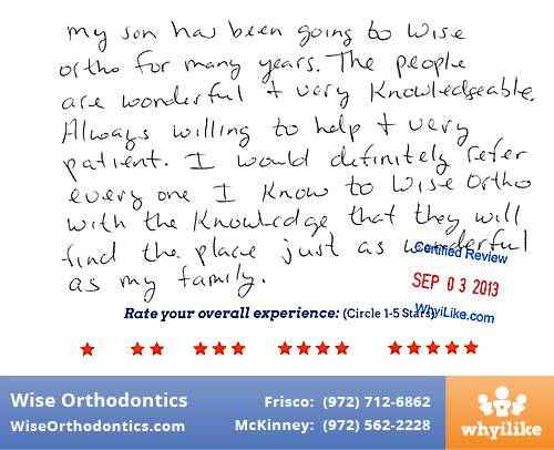 Wise Orthodontics Review by Dorella S. in Frisco, TX