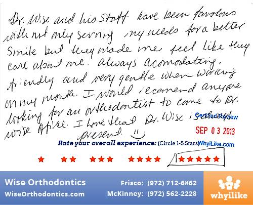 Wise Orthodontics Review by Adrianna P. in Frisco, TX