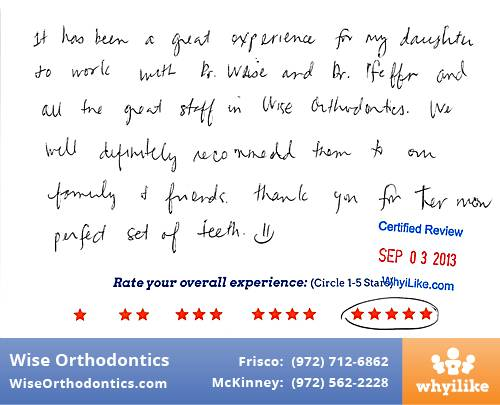Wise Orthodontics Review by Anna T. in Frisco, TX