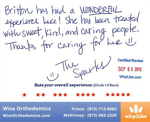 Wise Orthodontics Review by Britton S. in Frisco, TX