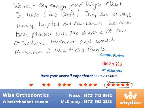 Wise Orthodontics Patient Review by Amy H