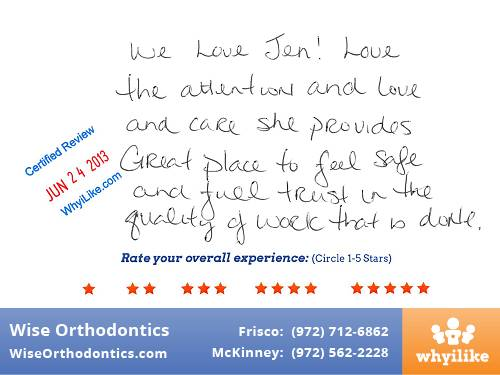 Wise Orthodontics Patient Review by Aynslee M