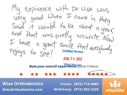 Wise Orthodontics Patient Review by Kyle J