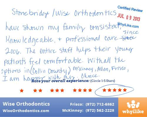 Wise Orthodontics Patient Review by Lynette D