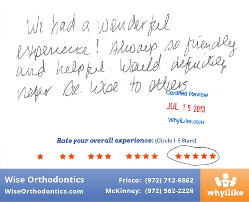 Wise Orthodontics Paitent Review By Jennifer M