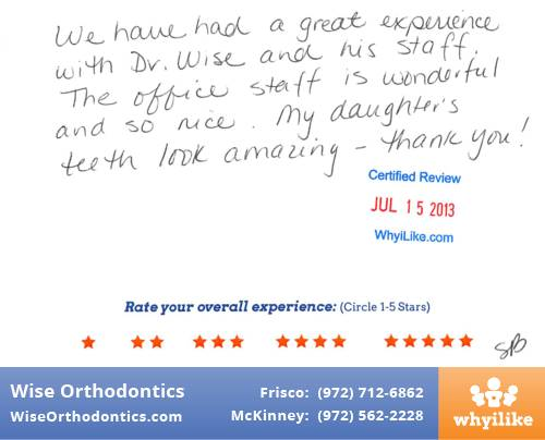 Wise Orthodontics Patient Review By Susan B