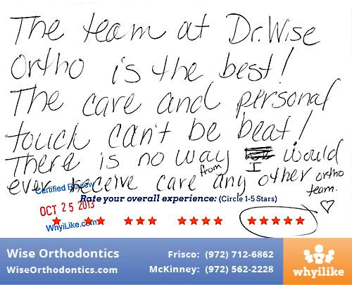 Wise Orthodontics Review by Barbara J. in Frisco, TX