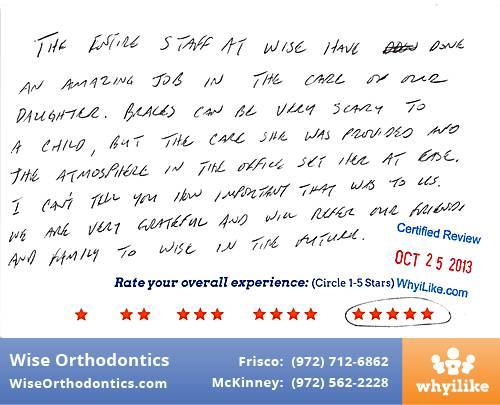 Wise Orthodontics Review by Blake H. in Frisco, TX