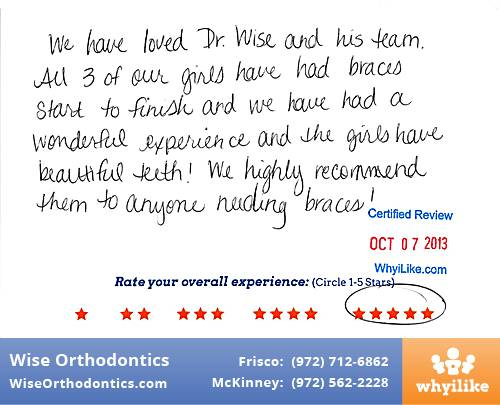 Wise Orthodontics Review by Lisa R. in Frisco, TX