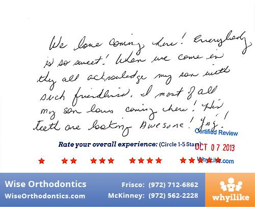 Wise Orthodontics Review by Maira R. in Frisco, TX