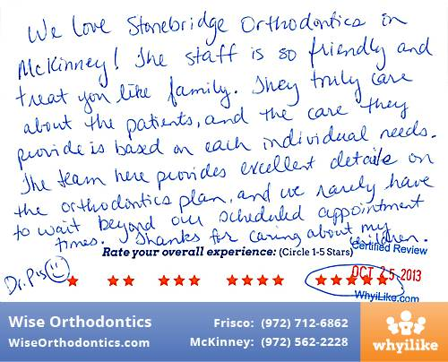 Wise Orthodontics Review by Rachelle S. in Frisco, TX