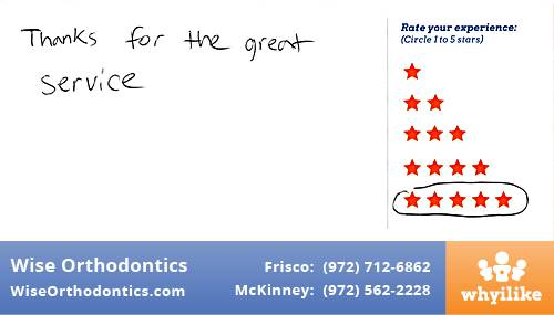 Wise Orthodontics review by Jerome S. in Frisco, TX
