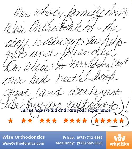 Wise Orthodontics review by Sandy F. in Frisco, TX on November 21, 2016
