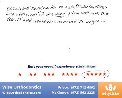 Wise Orthodontics review by Kathy R. in Frisco, TX on December 30, 2016
